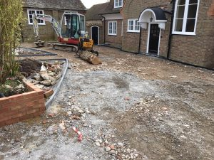 Block paving driveway in Bexhill, during paving